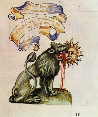 'Green Lion Eating the Sun' illustration from the Rosarium Philosophorum (1550)
